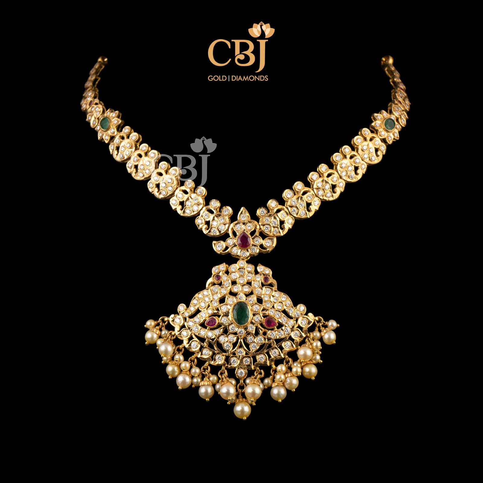 gold cz stone necklace
