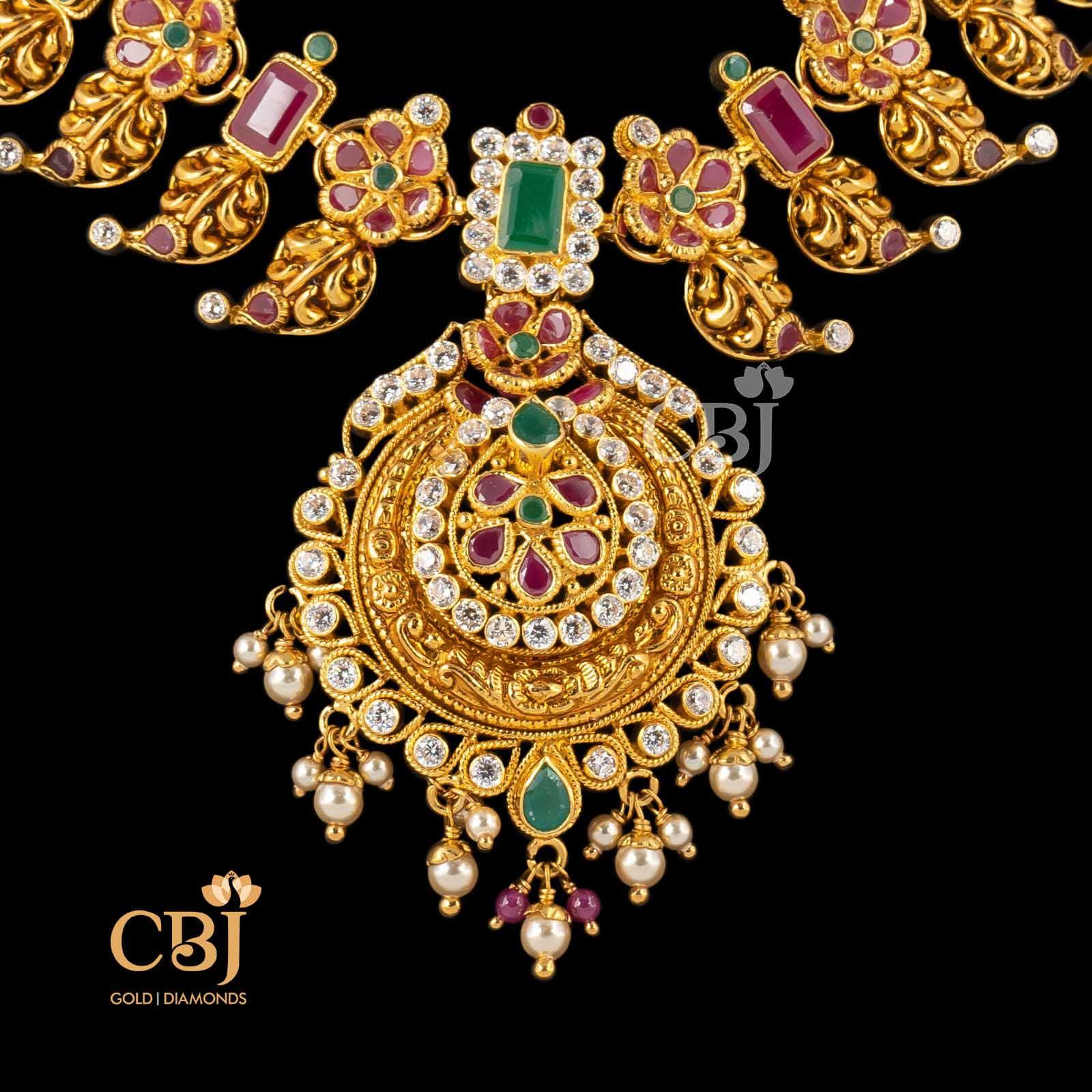 multi color stone necklace gold