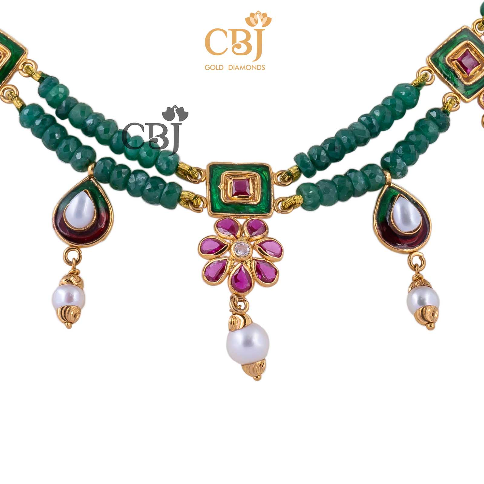 emerald beads necklace online