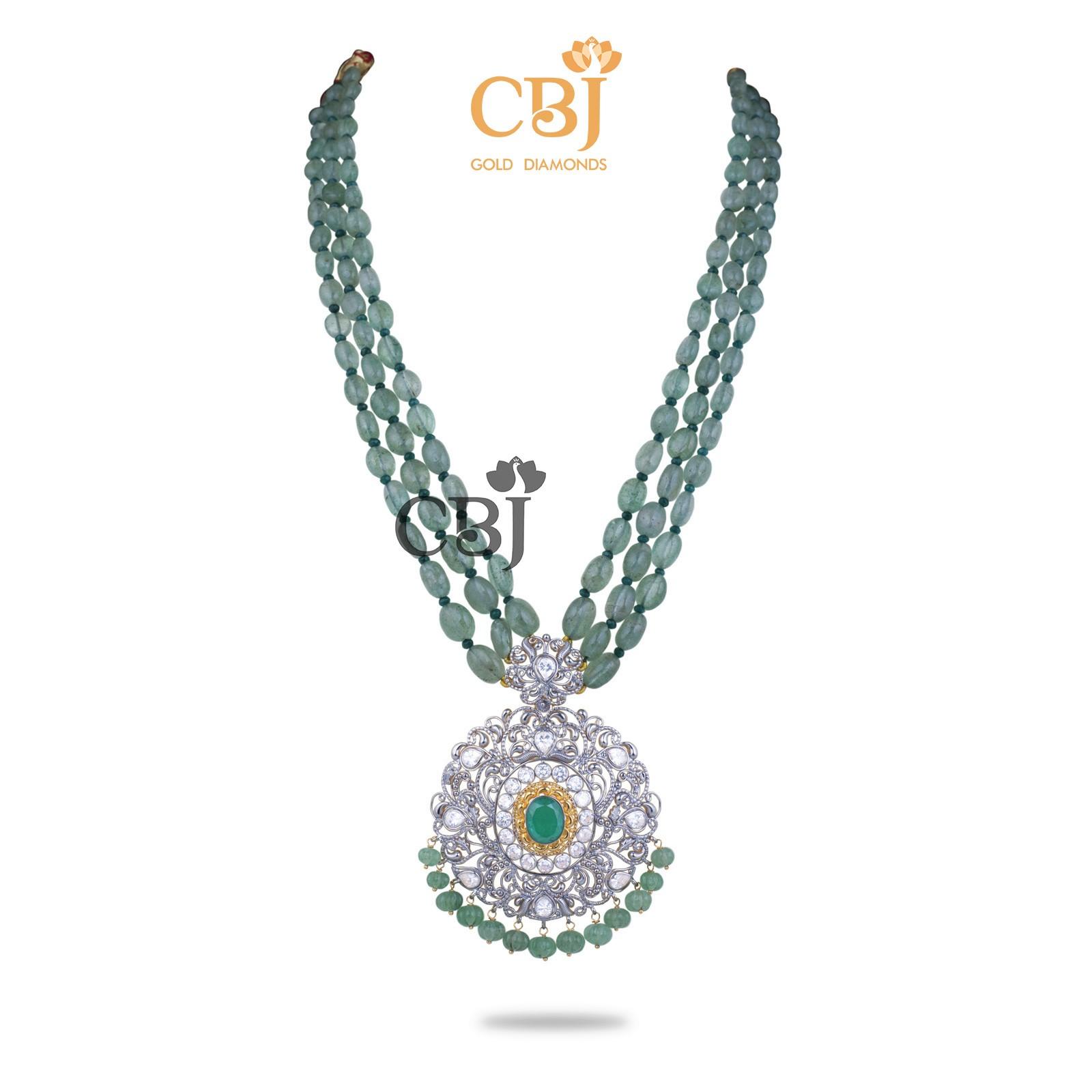 Russian Emerald Haar With CZ Pendant