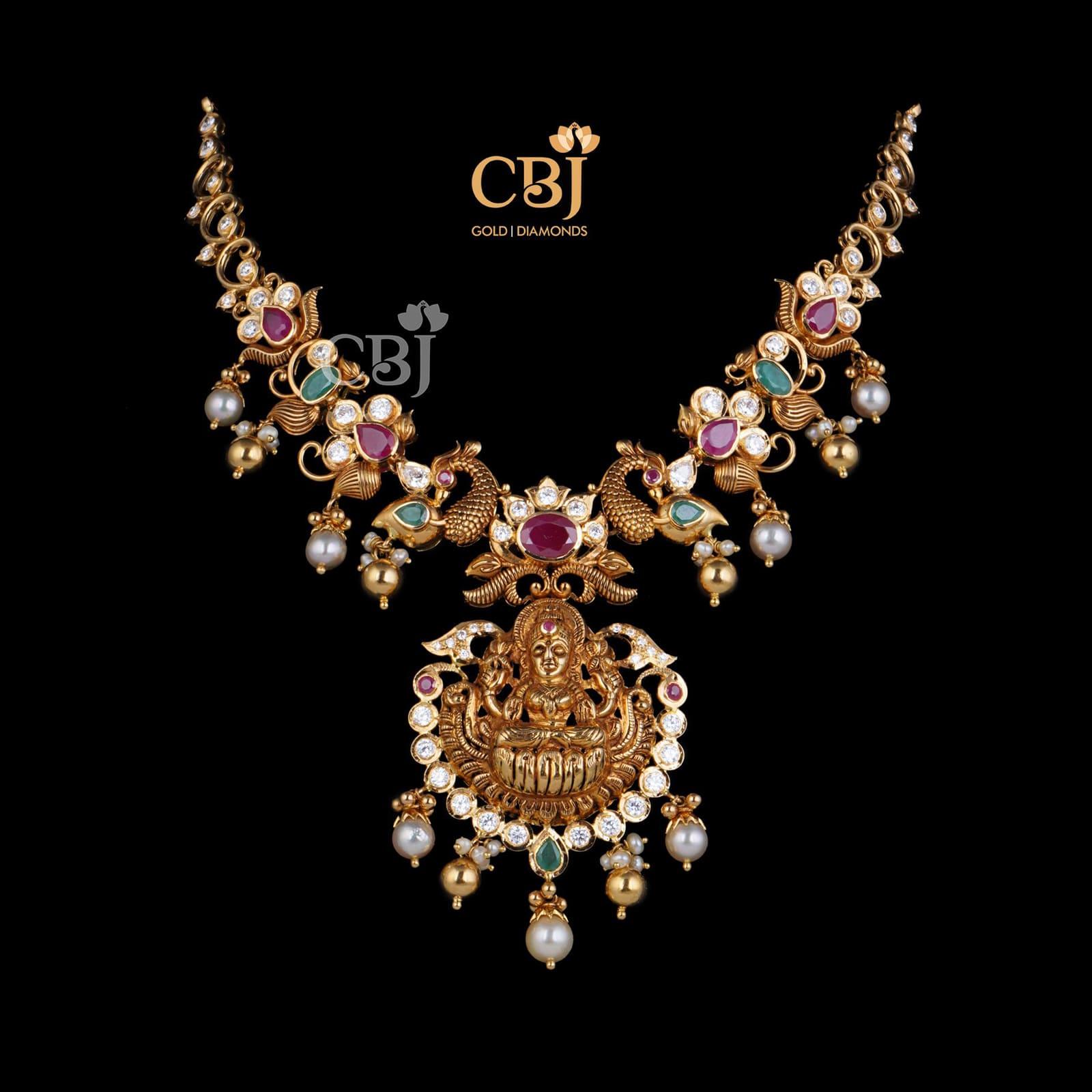 Trendy CZ Pachi Lakshmi Necklace